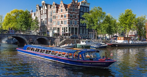 Evening Canal cruise for two in Amsterdam.