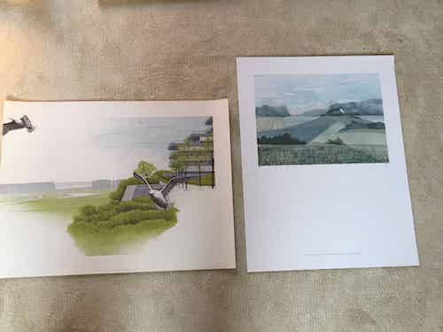 2 silk-screen prints with landscapes of Gelderland.