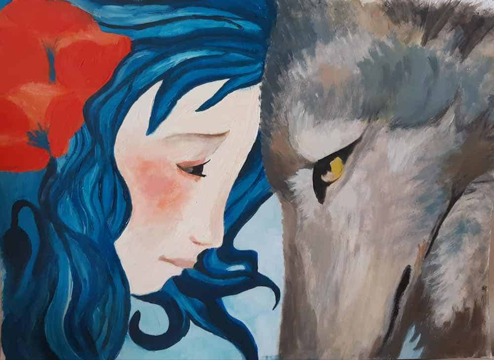 Girl and wolf oilpainting 30x20cm by Femke Corbeek